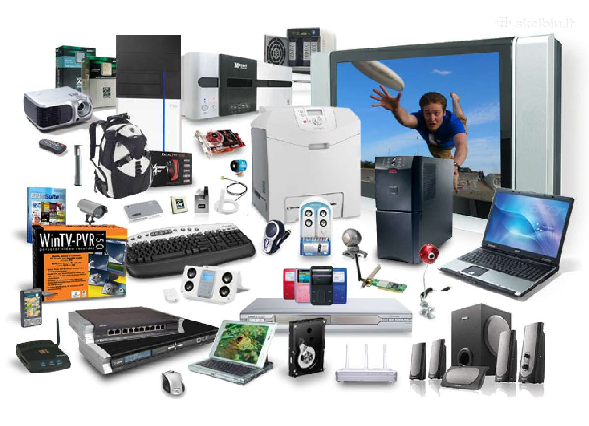 Superkame kompiuterius ir jų dalis su/be defektu