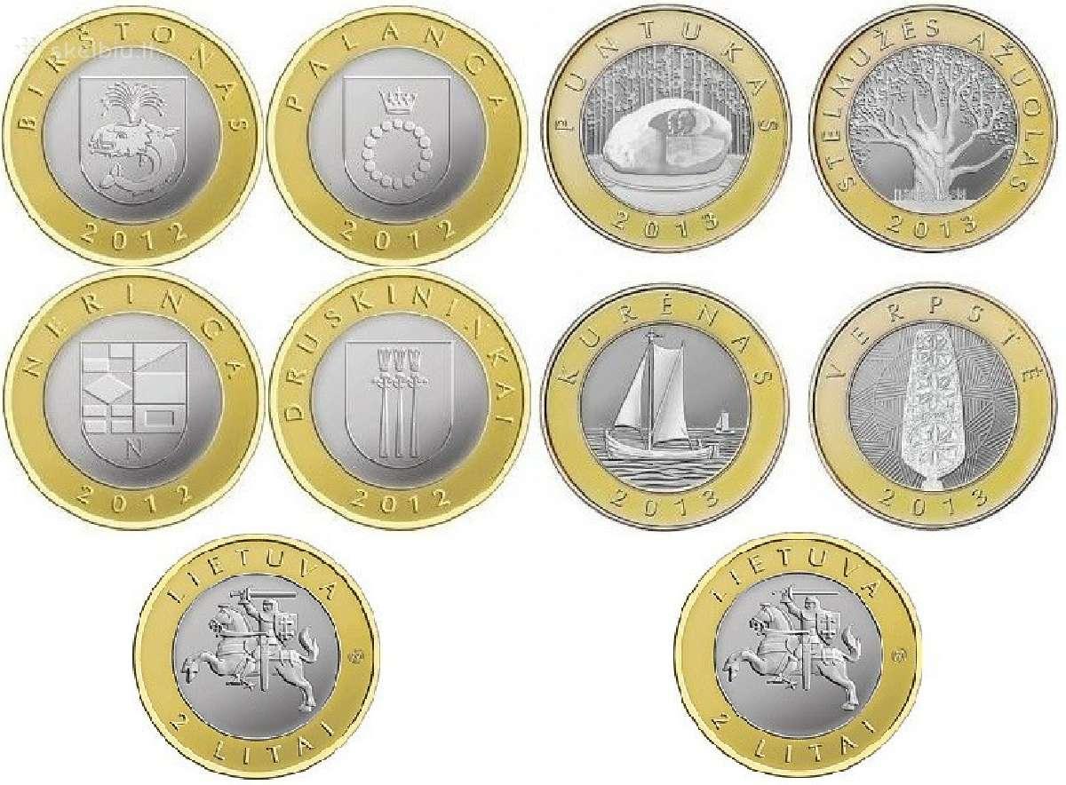 Lietuva 2 litai 2012 Kurortai ir 2 litai 2013