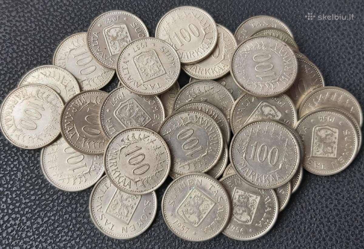 100 markių 1956 ir 1957 Suomija sidabras 0.500 - Skelbiu.lt