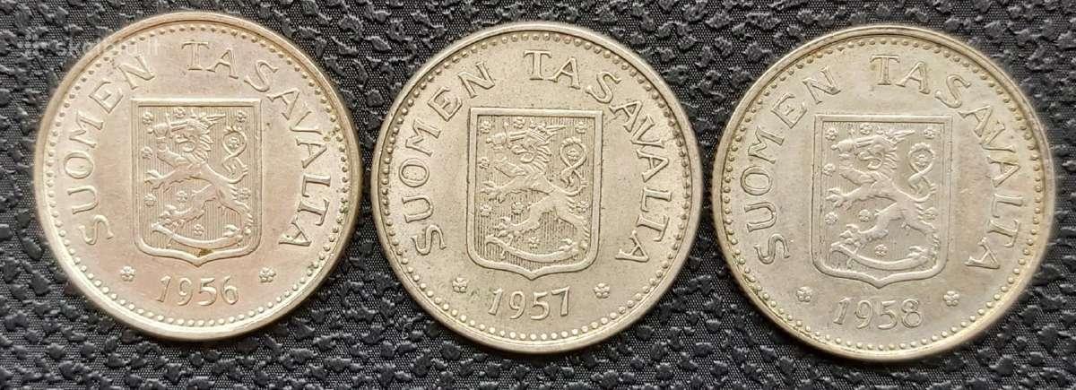 100 markių 1956,1957 ir 1957 m. Suomija sidabras - Skelbiu.lt