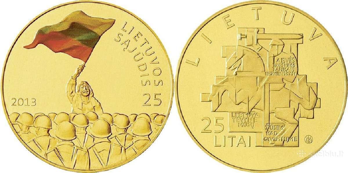 25 litų moneta Sąjūdžiui 25 metai