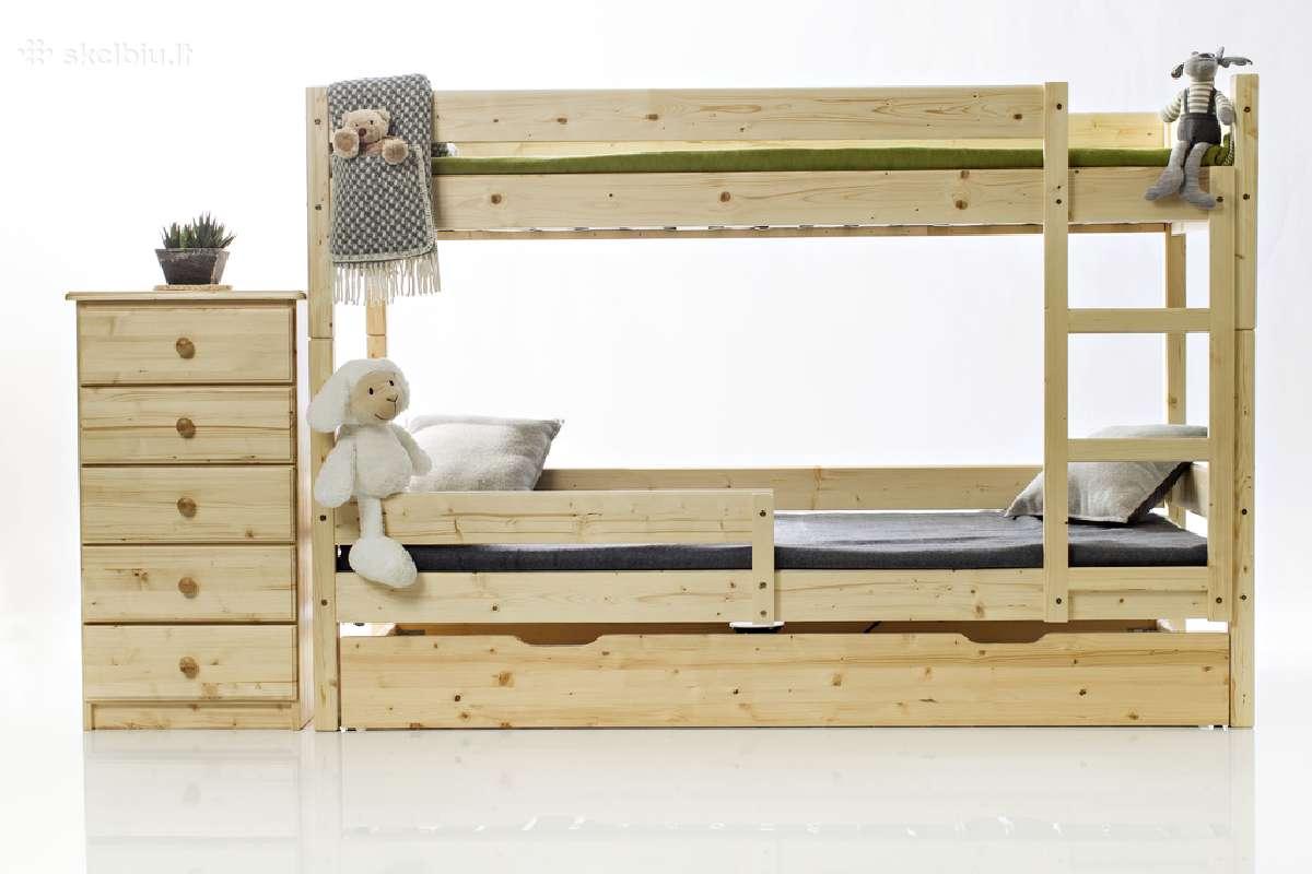 Lietuviška kokybė! Tvirta dviaukštė lova