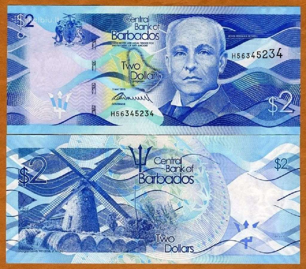 Barbadosas 2 Dollars 2013m. P73 Unc