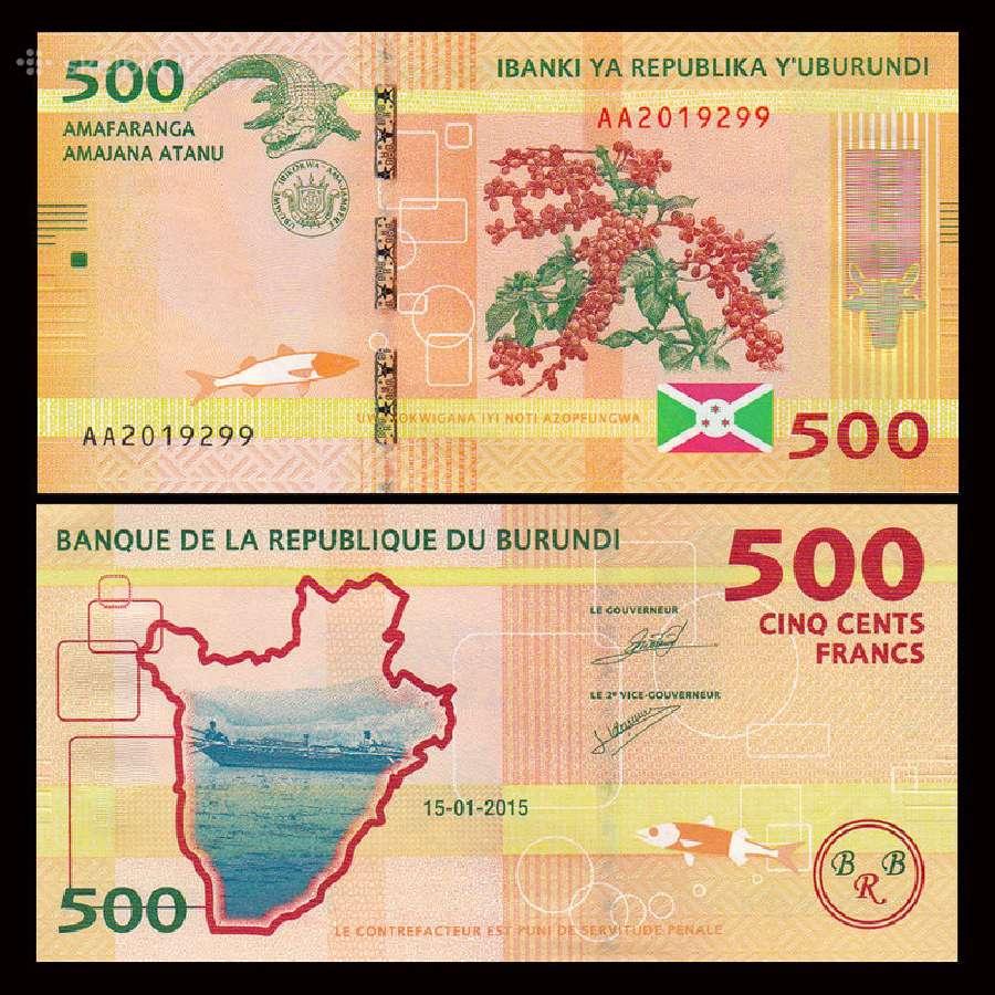 Burundis 500 Francs 2015m. Unc