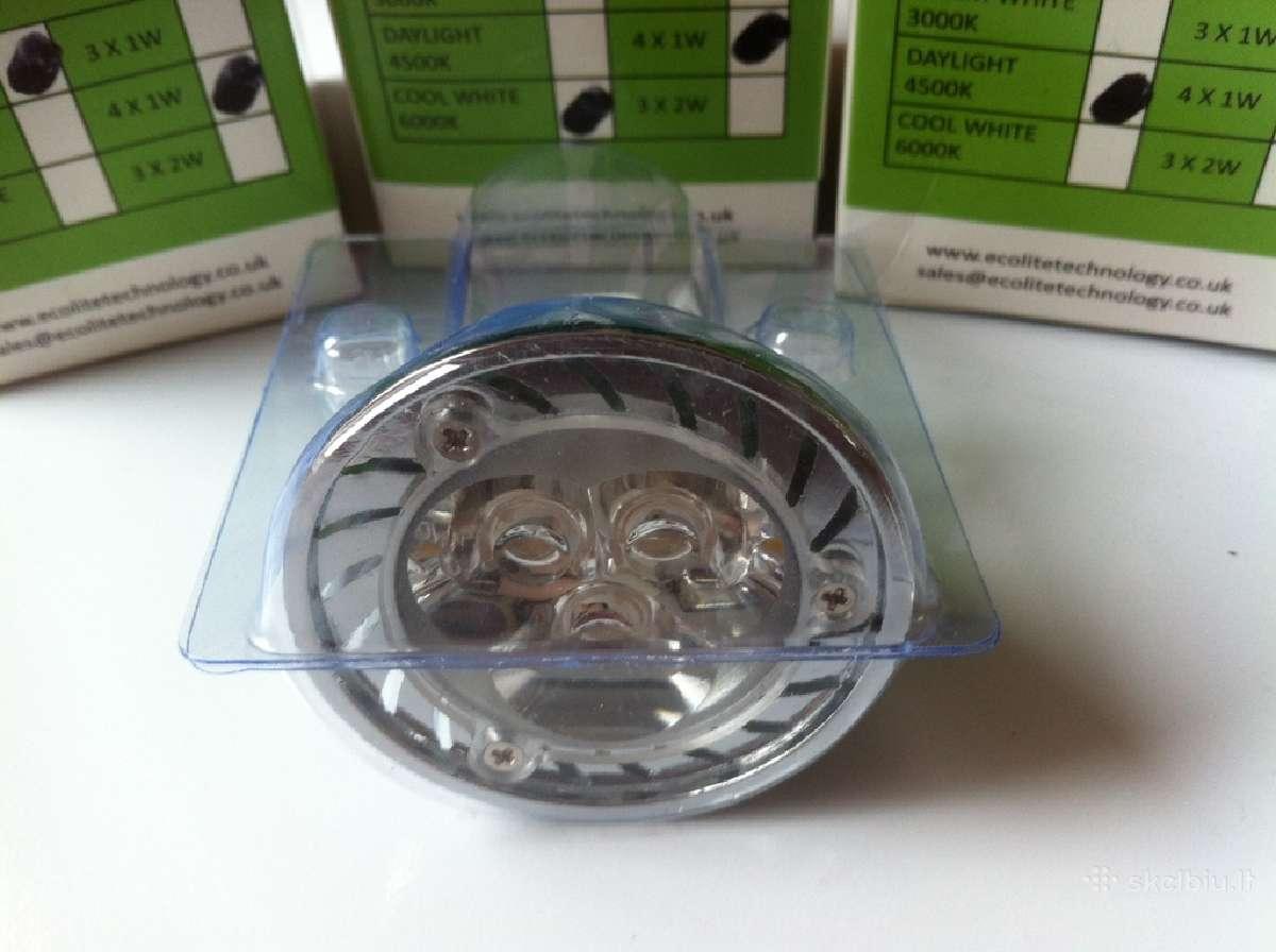 Led lemputės Mr16 ir Gu10 6w, 4w, 3w