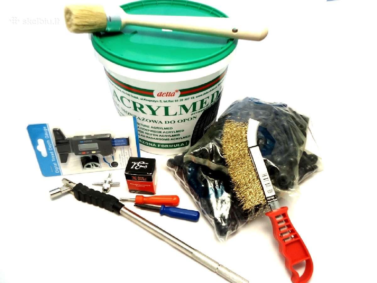 Ratų ir padangų remonto medžiagos ir įrankiai