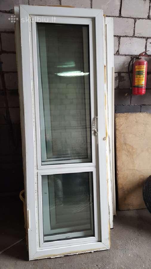 Naudotos plastikinės balkono durys 2.27x0,76