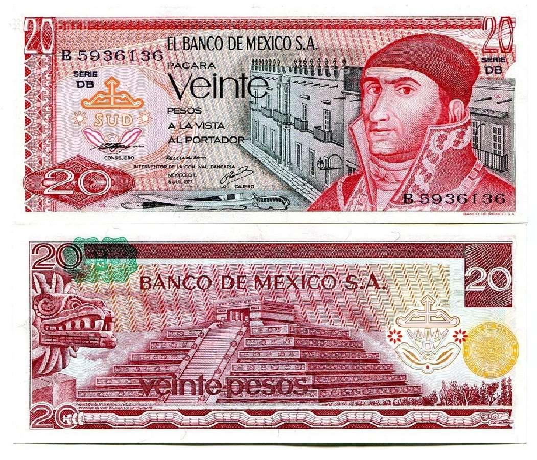 Meksika 20 Pesos 1977m. P64d Unc