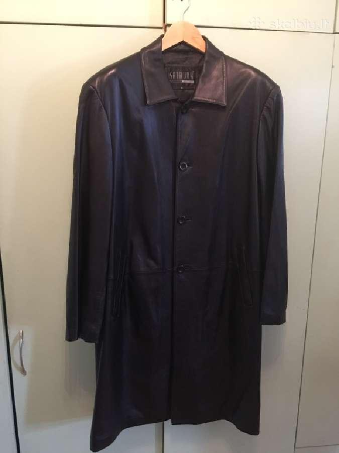 Natūralios odos vyriškas paltas