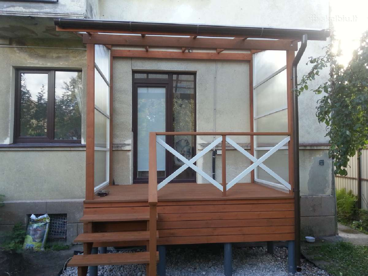 Karkasinė statyba, medinės terasos, tvoros ir kt.