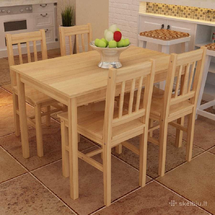 Medinis Valgomojo Stalas su 4 Kėdėmis - vidaxl