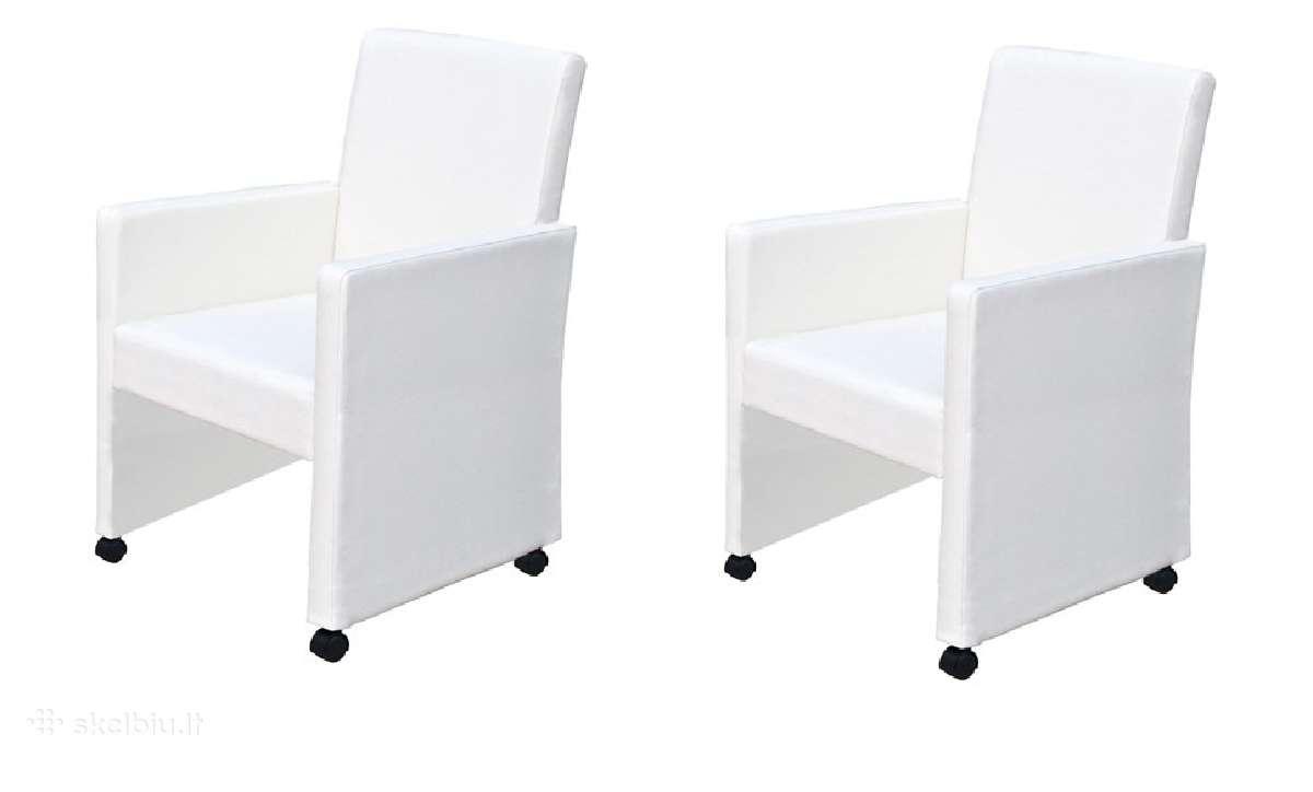 Dviejų Baltų Valgomojo Kėdžių Komplektas, vidaxl