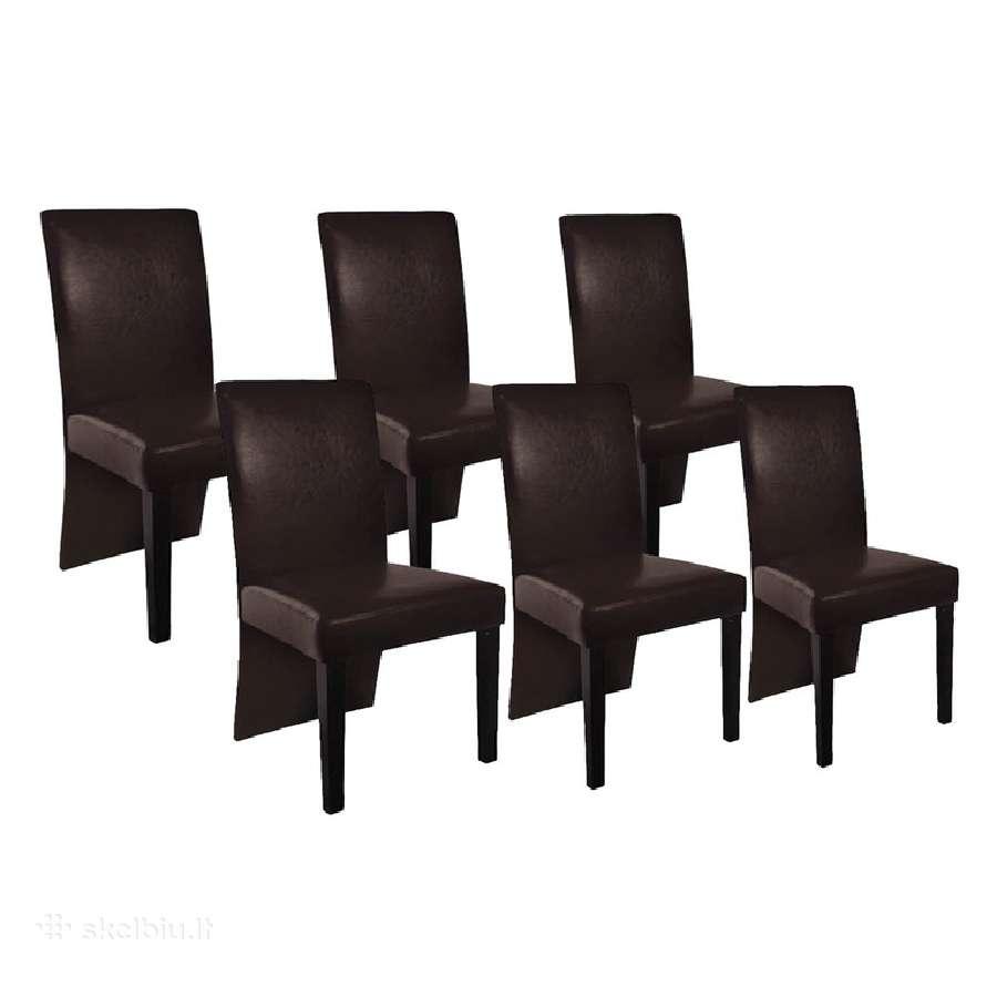 6 Valgomojo Kėdės, Ruda Oda, vidaxl