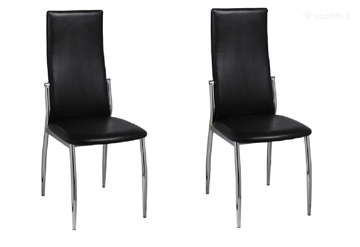 2 Valgomojo Kėdės, Chromas ir Juoda Oda, vidaxl