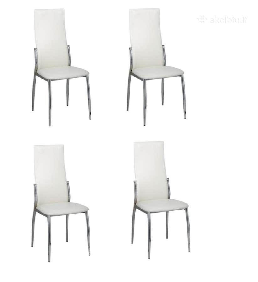 4 Valgomojo Kėdės, Chromas ir Balta Oda, vidaxl