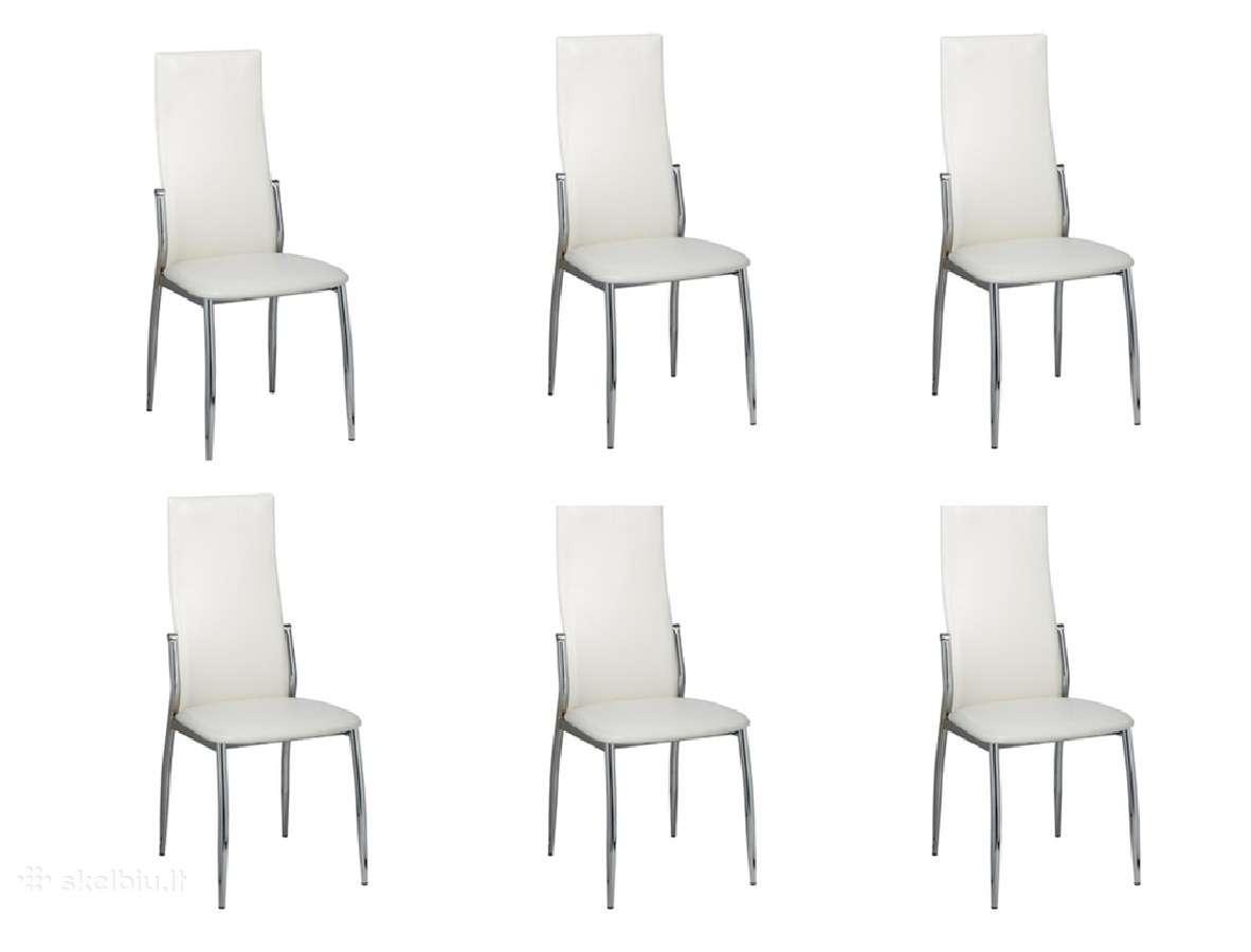 6 Valgomojo Kėdės, Chromas ir Balta Oda, vidaxl