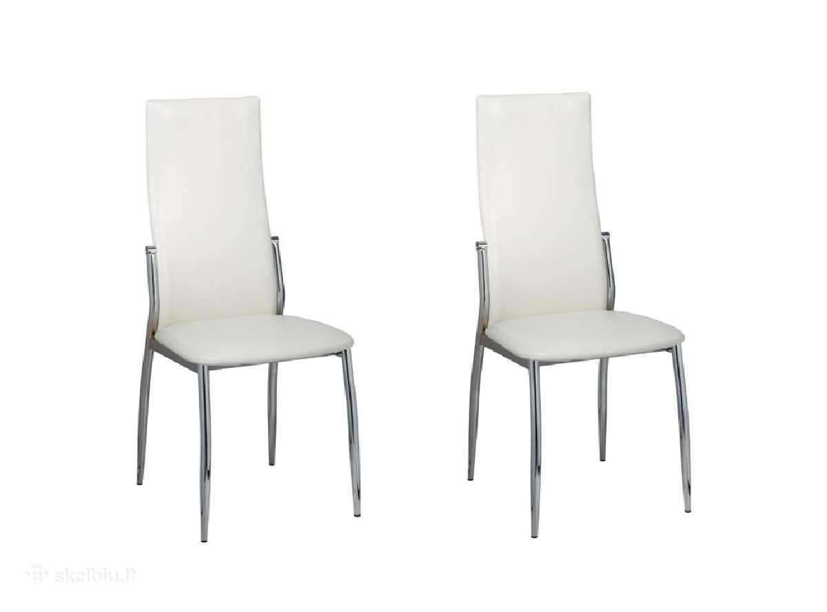 2 Valgomojo Kėdės, Chromas ir Balta Oda, vidaxl