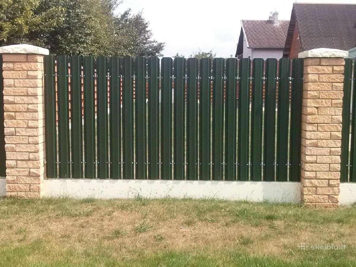 Metalinės skardinės tvoros tvoralentes medinės