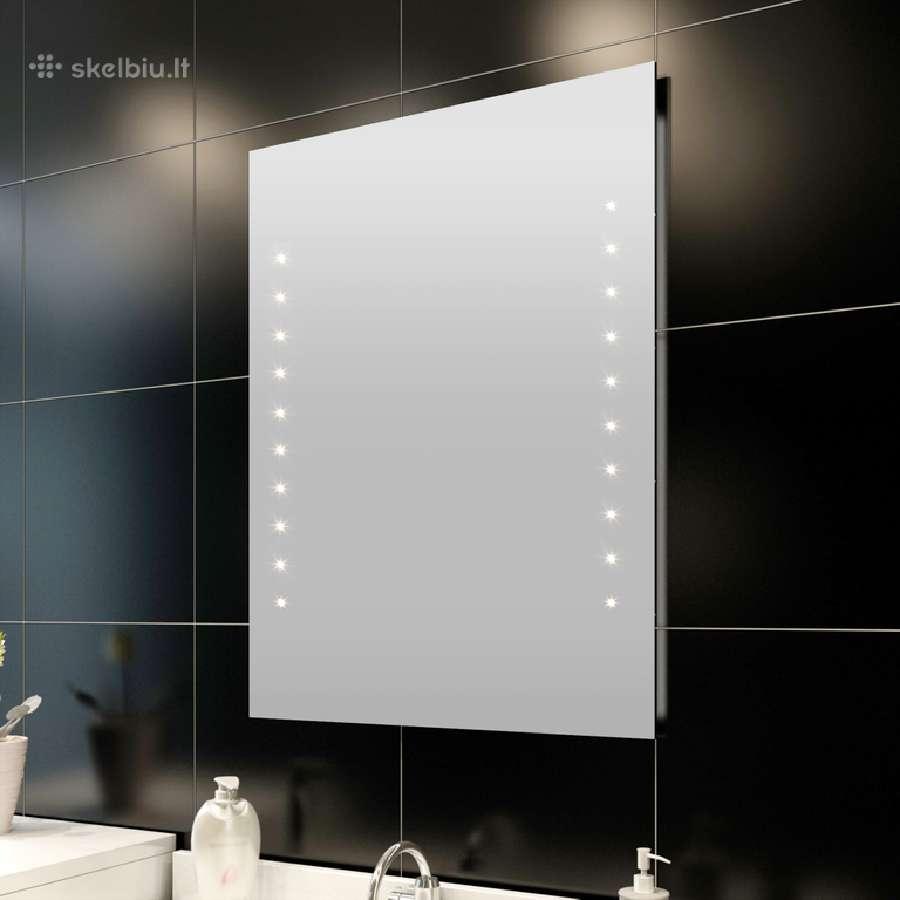 Sieninis Vonios Veidrodis su Led 50x60 cm, vidaxl