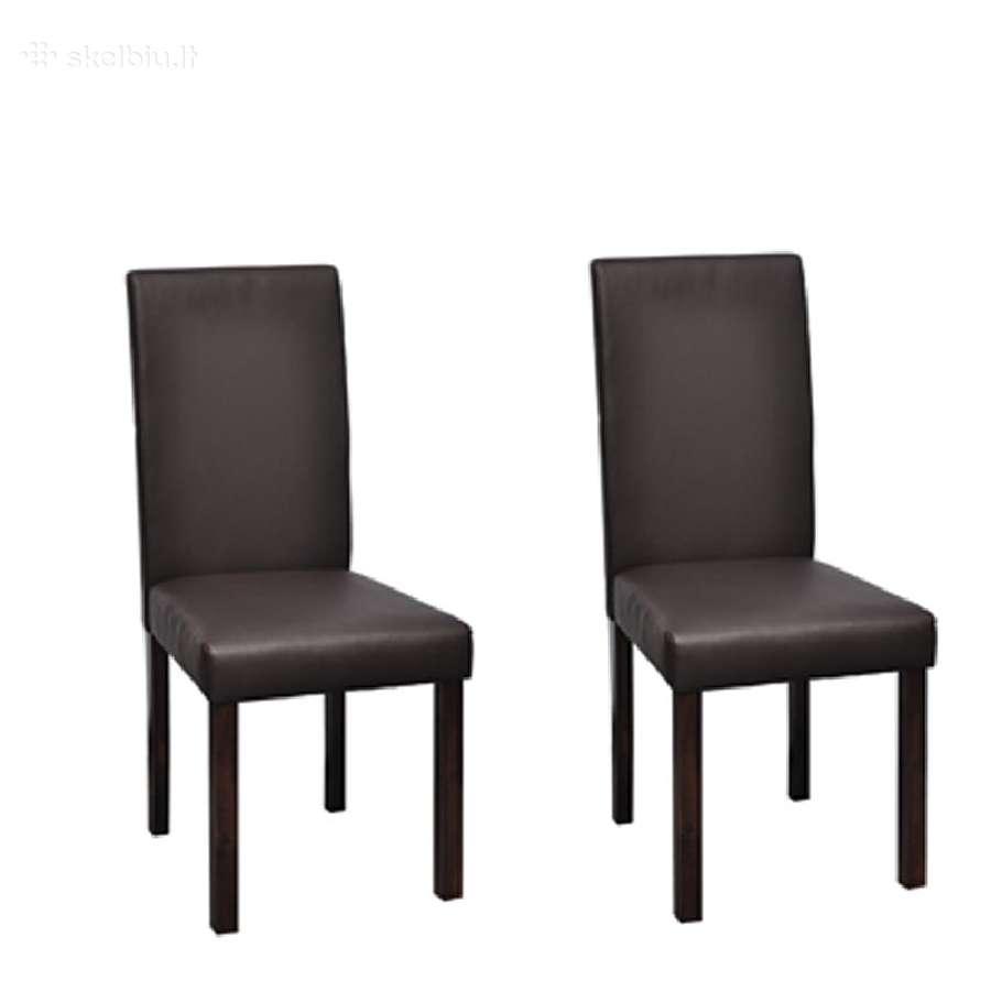 Vidaxl Dvi Valgomojo Kėdės, Ruda Oda 60587