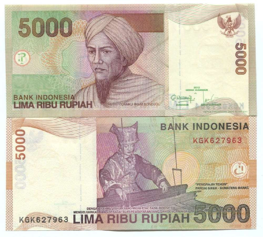 Indonezija 5000 Rupiju 2012m. Unc