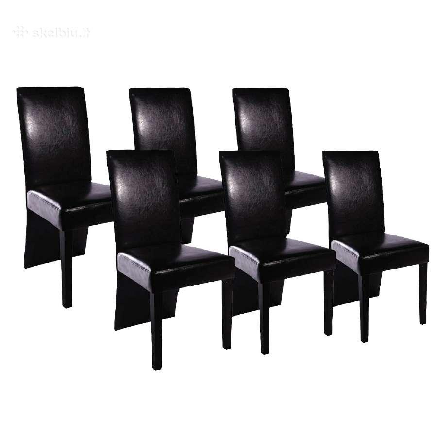 6 Valgomojo Kėdės, Juoda Oda, vidaxl