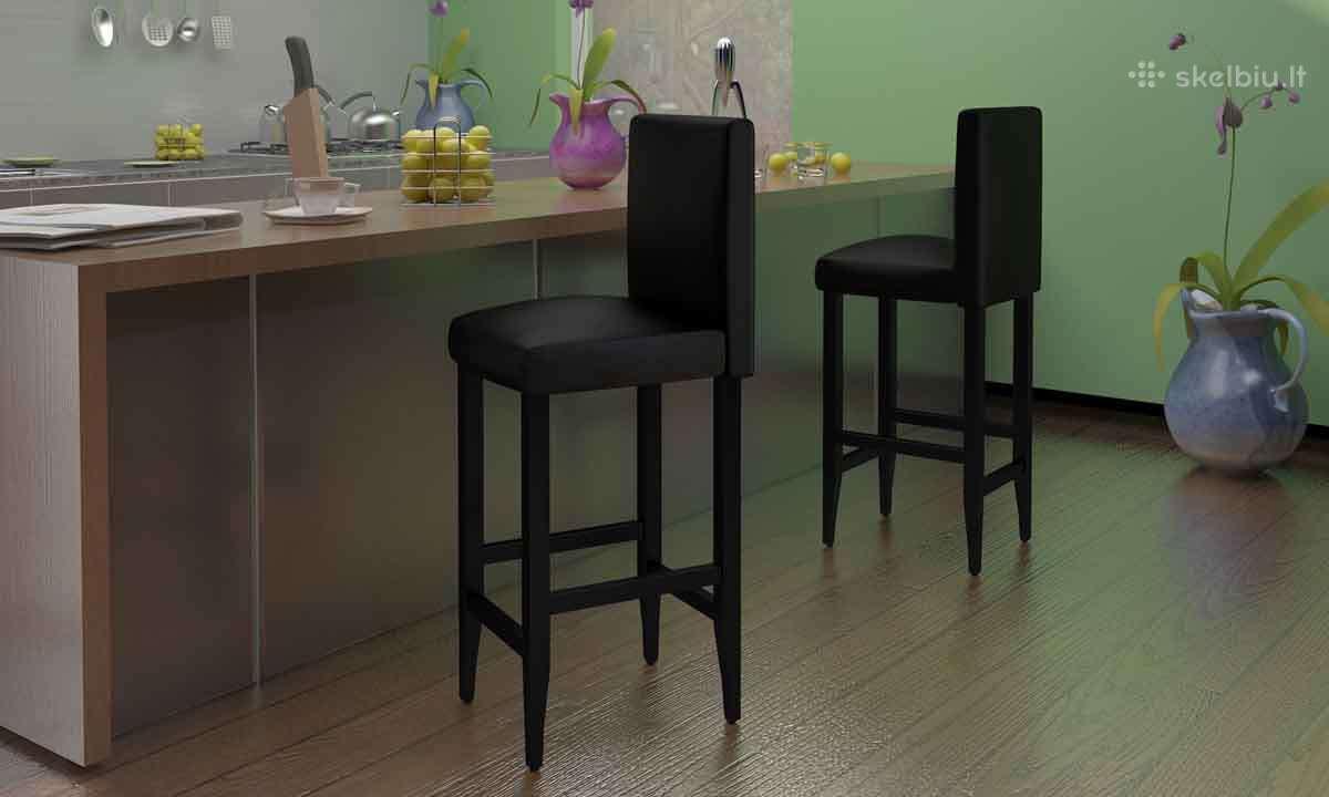 4 Juodos Dirbtinės Odos Baro Kėdžių Komplektas