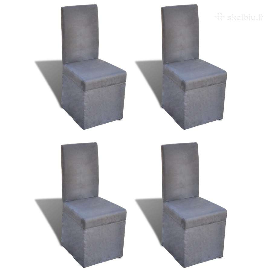4 Valgomojo Kėdžių Komplektas, Tamsiai Pilkos