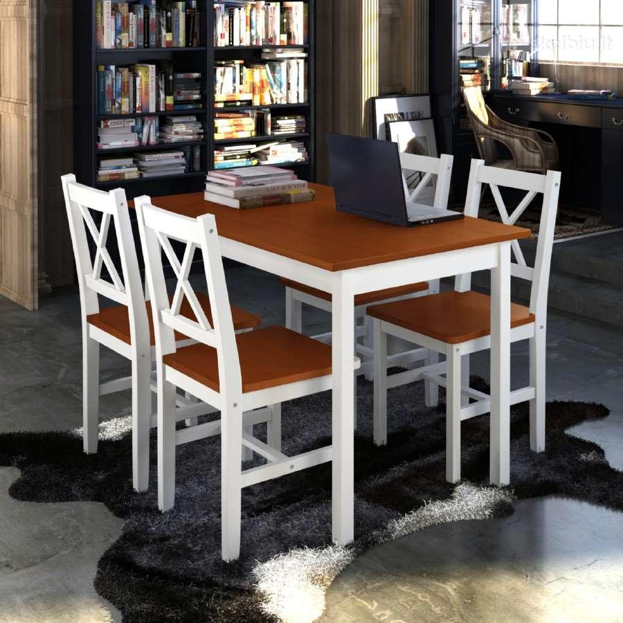 Medinis Stalas ir 4 Medinės Kėdės 240884 vidaxl