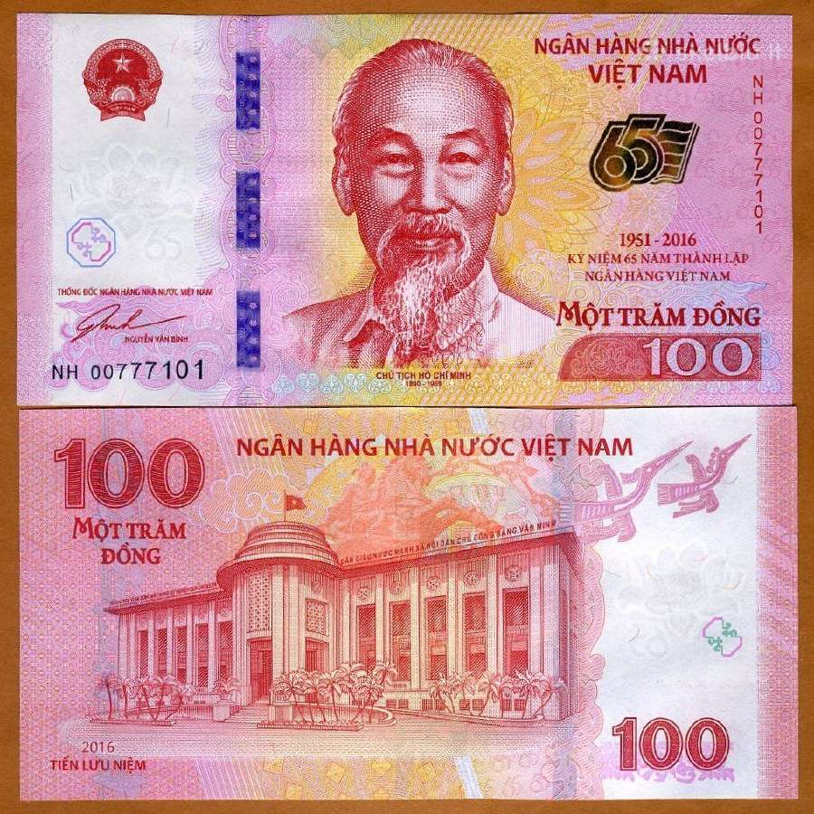 Vietnamas 100 Dong 2016m. P125 Unc Proginė