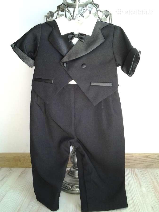 Juodas puošnus vientisas kostiumas