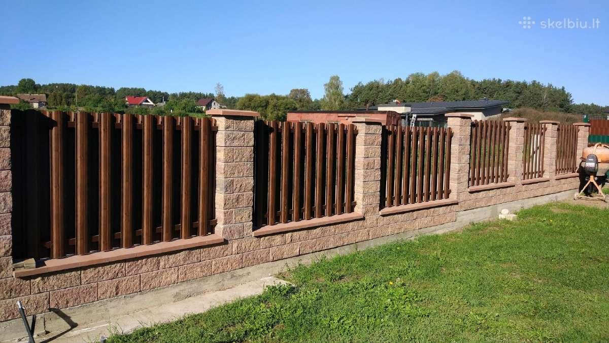 skardinė tvora (tamsi medžio imitacija