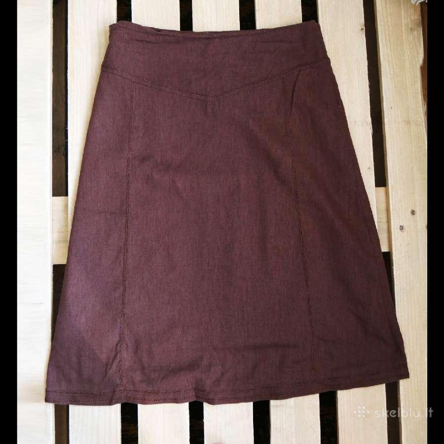 Ilgas, rudas lininis sijonas