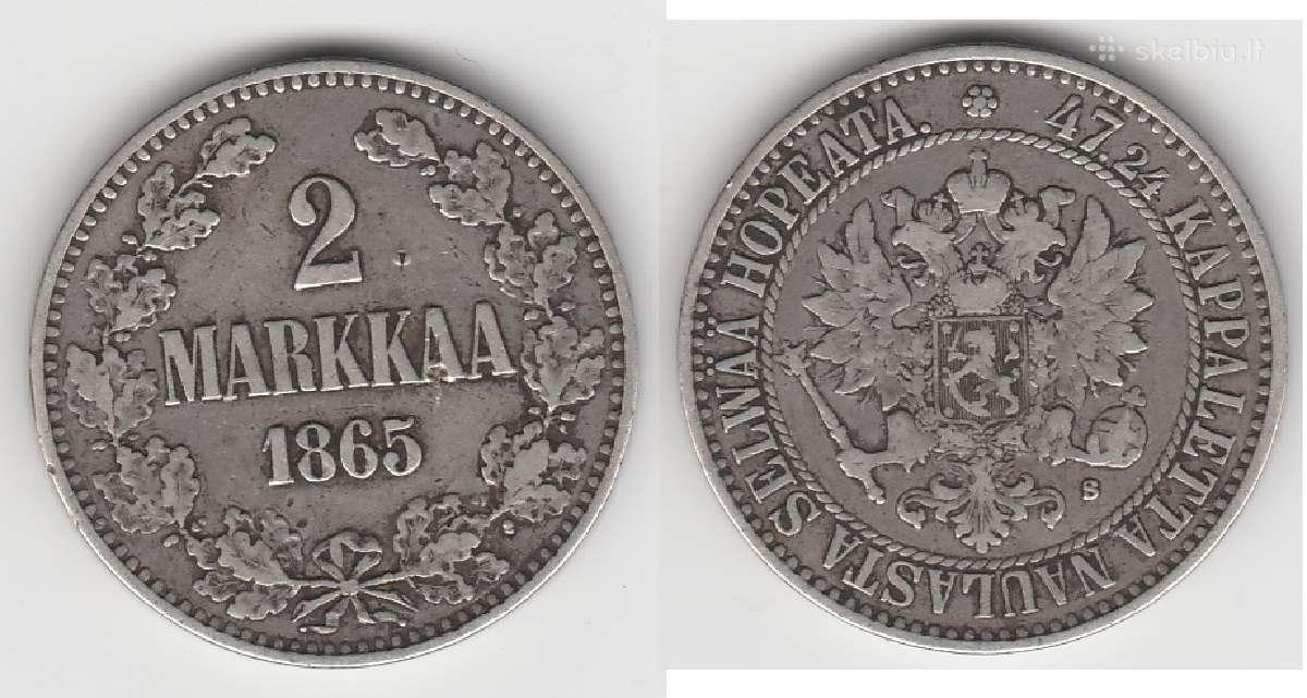 Rusija-suomija 2 marka 1874m. St. puikus. Kaina 35