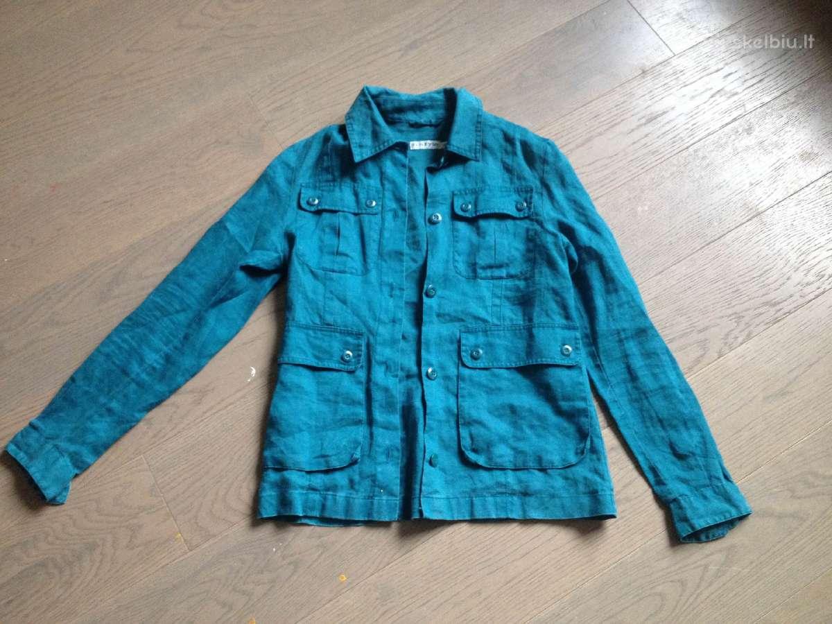 Indigo mėlynos spalvos lininis švarkas/švarkelis