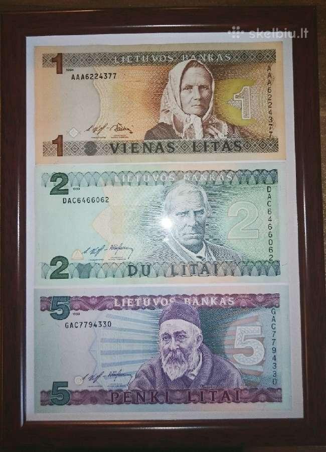 Įrėminti litų banknotai - puki dovana!