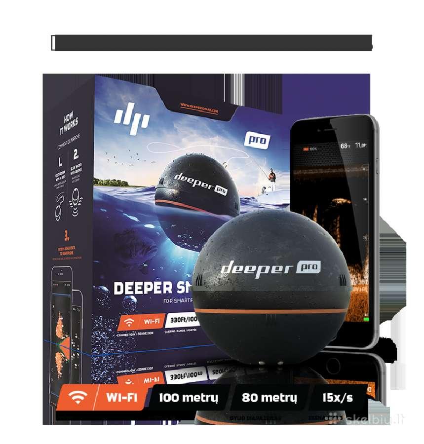 Akcija! Echolotas Deeper Pro (WiFi) Tik 185 €