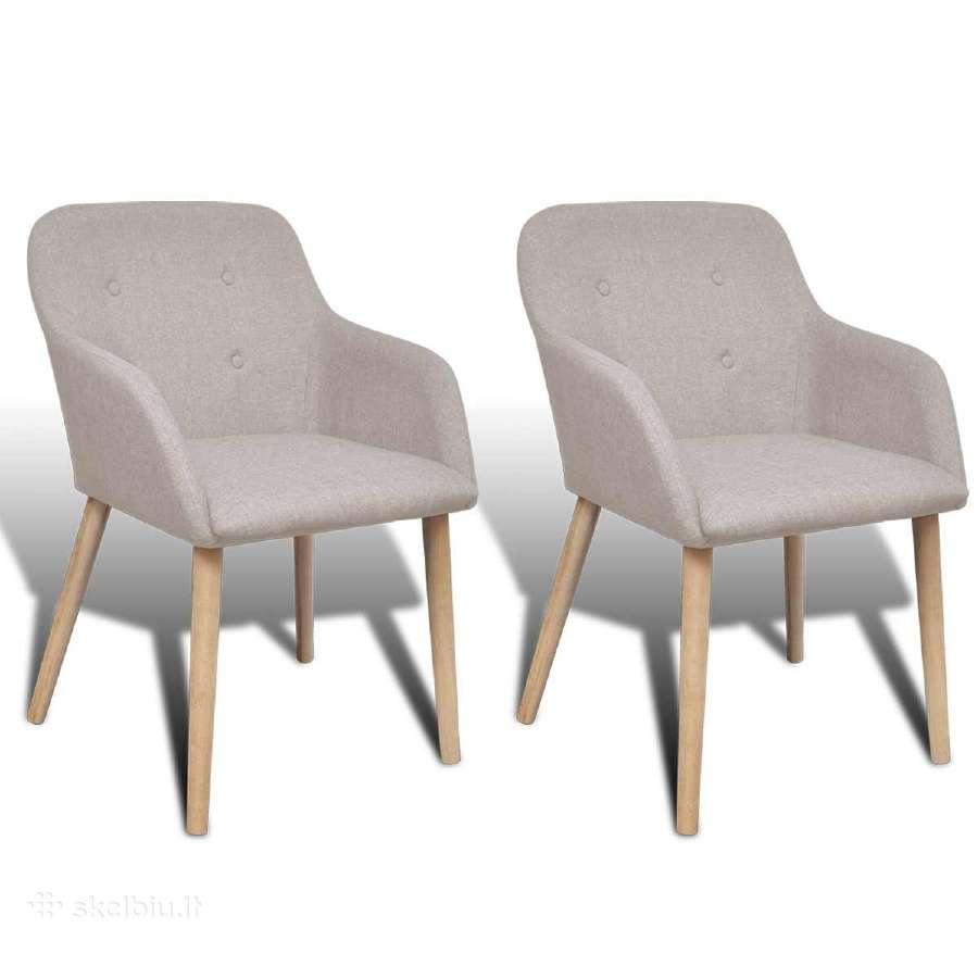 2 Ąžuolinės Audiniu Aptrauktos Kėdės su Porankiais