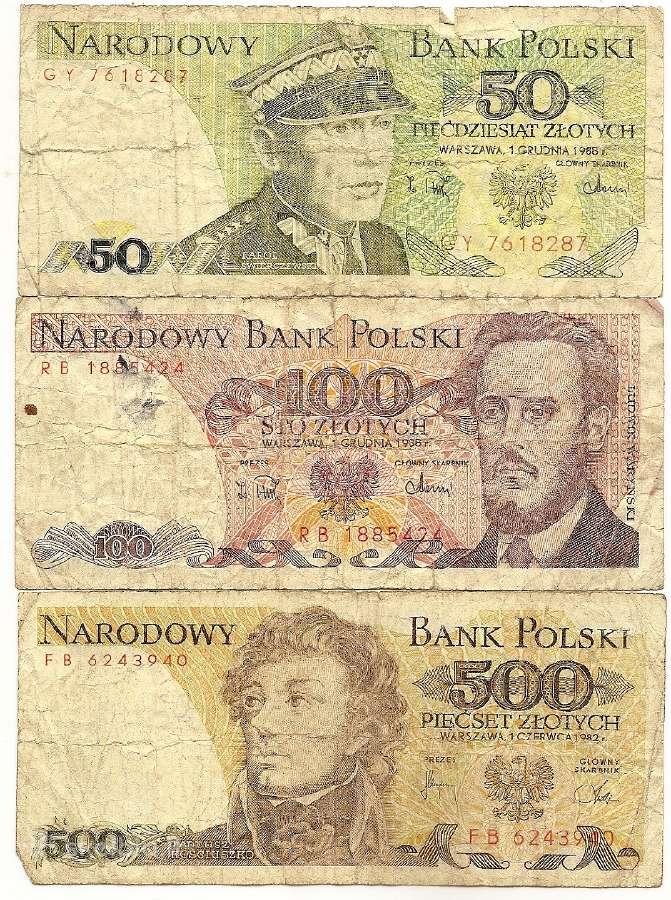 Lenkijos 50,100,500 zlotu banknotai