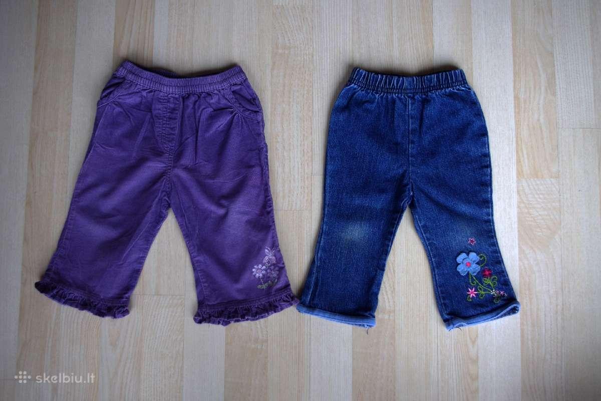 Velvetinės kelnės ir džinsai 9 mėn. 74cm 2vnt.