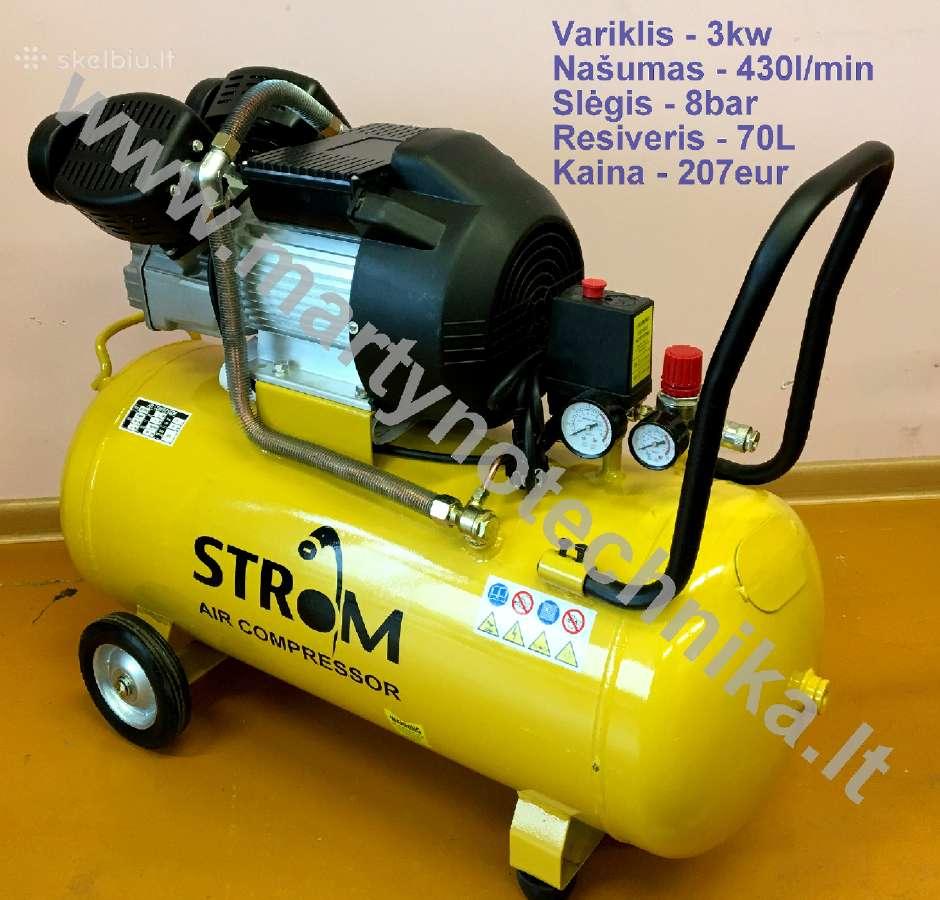 Oro kompresorius 2cil/70l 430l/min 3kw