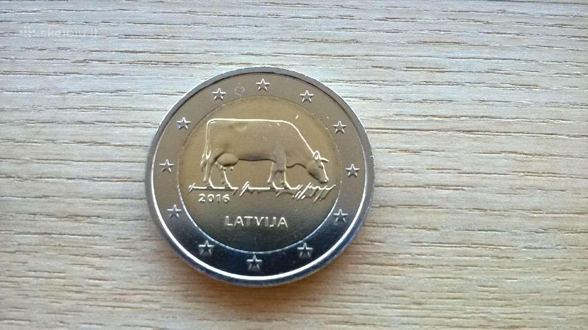 2 Eurai, eurų moneta, Latvija 2016 (karvė)