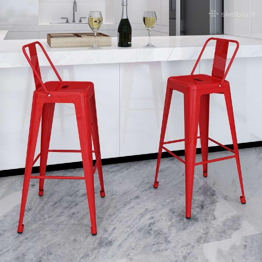 2 Aukštos Baro Kėdės, Raudonos, vidaxl