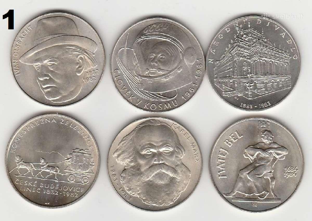 Cekoslovakija nuo 50kc. iki 100kc. 44vnt. monetu