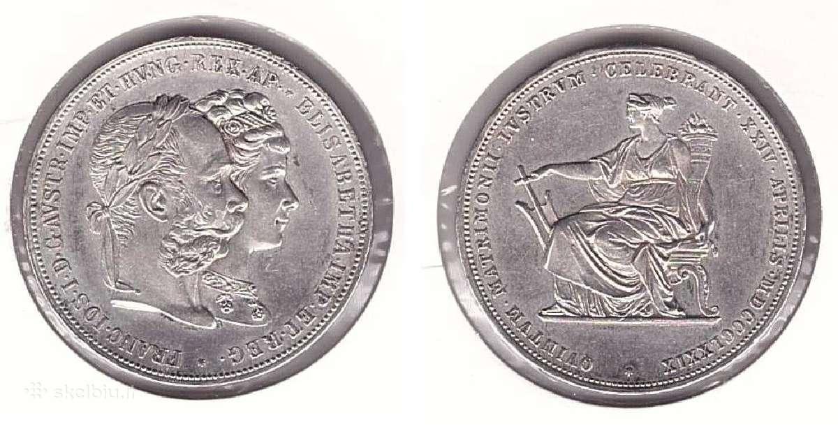 Austrija 2 guldenai 1879m. Jubiliejine.st. puikus.
