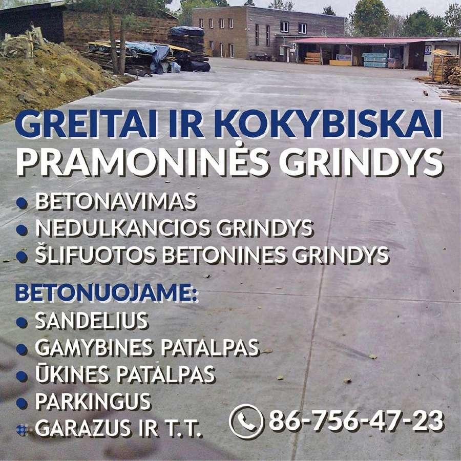 Betonavimas pramoniniu Grindu