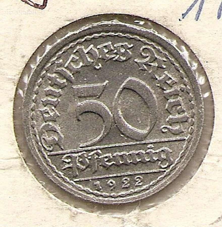 Veimaras 50 pfenigu 1922f #27