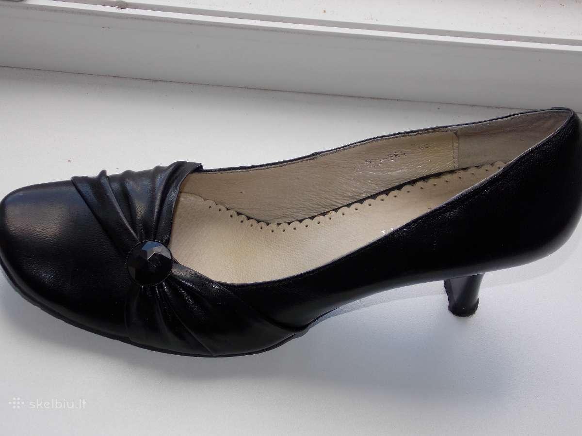 Nauji juodi odiniai bateliai
