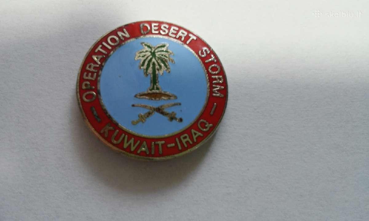 """Karinės operacijos """"Audra dykumoje"""" dalyvio ženkl."""