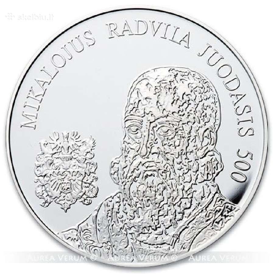20 Eurų sidabrinė moneta M. Radvilos Juodojo 500